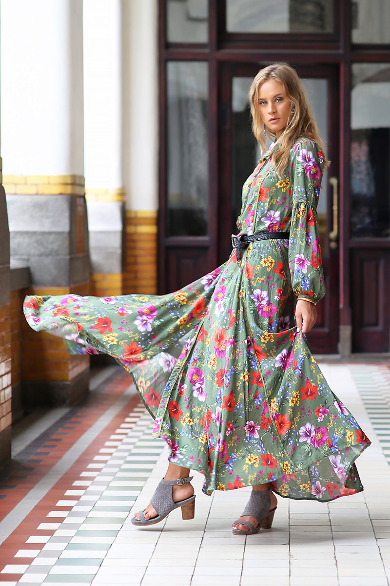 The Gypsy Queen Maxi Dress - Khaki - Tulle and Batiste