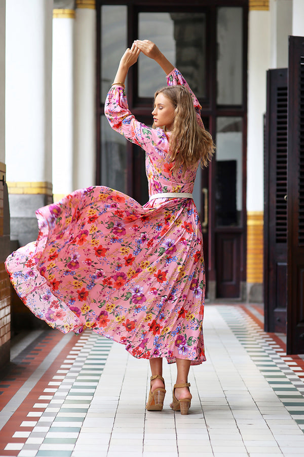 The Gypsy Queen Maxi Dress - Pink Blossom - Tulle and Batiste