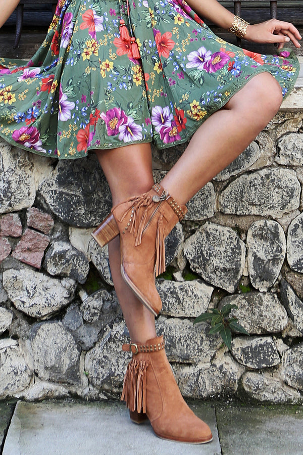 The Gypsy Queen Tassel Boots - Amber Brown - Tulle and Batiste