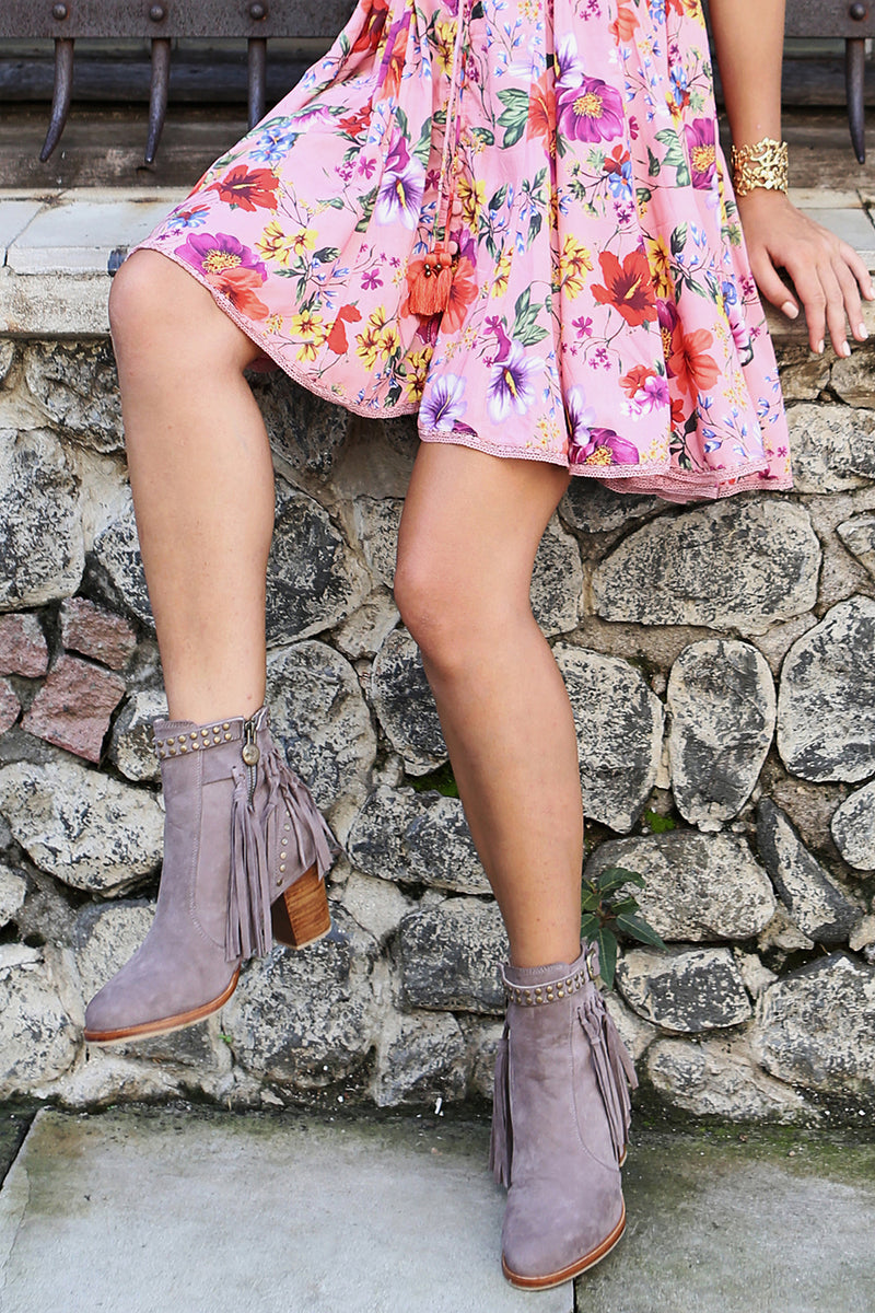 The Gypsy Queen Tassel Boots - Mauve - Tulle and Batiste