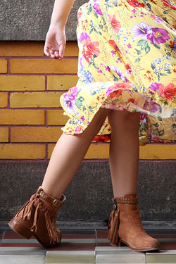 The Little Gypsy Queen Tassel Boots - Amber Brown - Tulle and Batiste