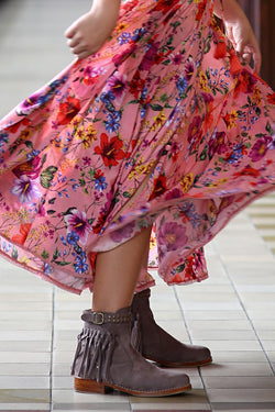 The Little Gypsy Queen Tassel Boots - Mauve - Tulle and Batiste