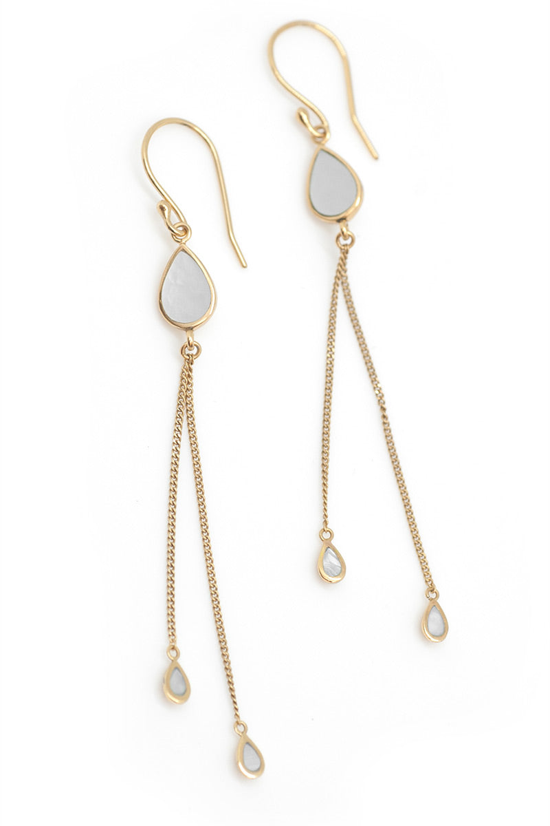 The Teardrops Earrings - Natural - Tulle and Batiste