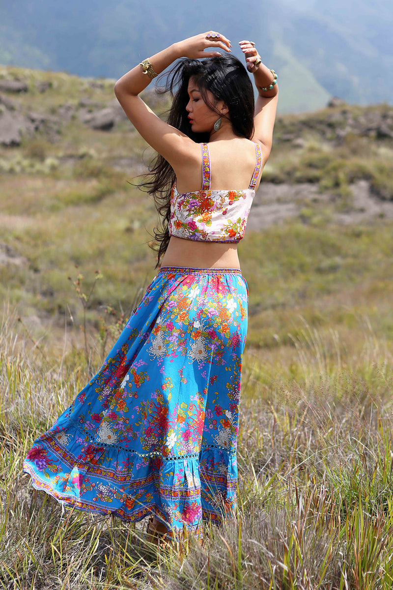 Delila Maxi Skirt - Blue Jewel - Tulle and Batiste