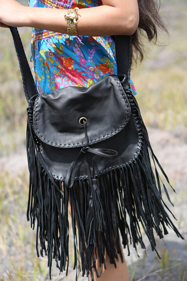 Delila Tassel Bag - Vintage Black - Tulle and Batiste