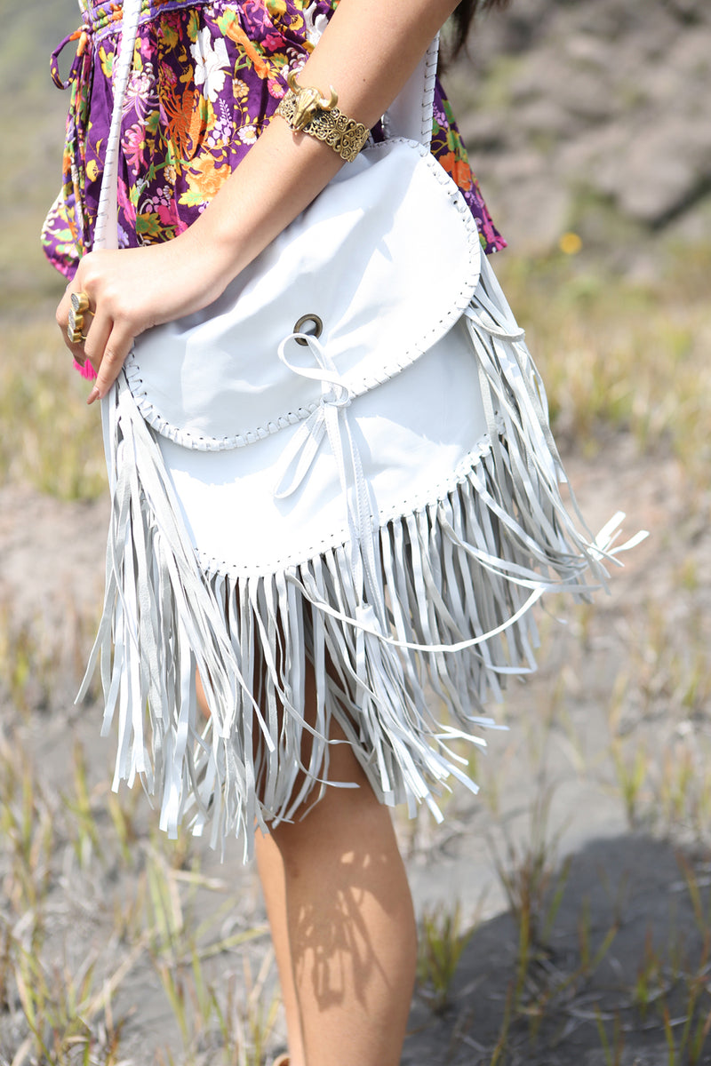 Delila Tassel Bag - Classic White - Tulle and Batiste