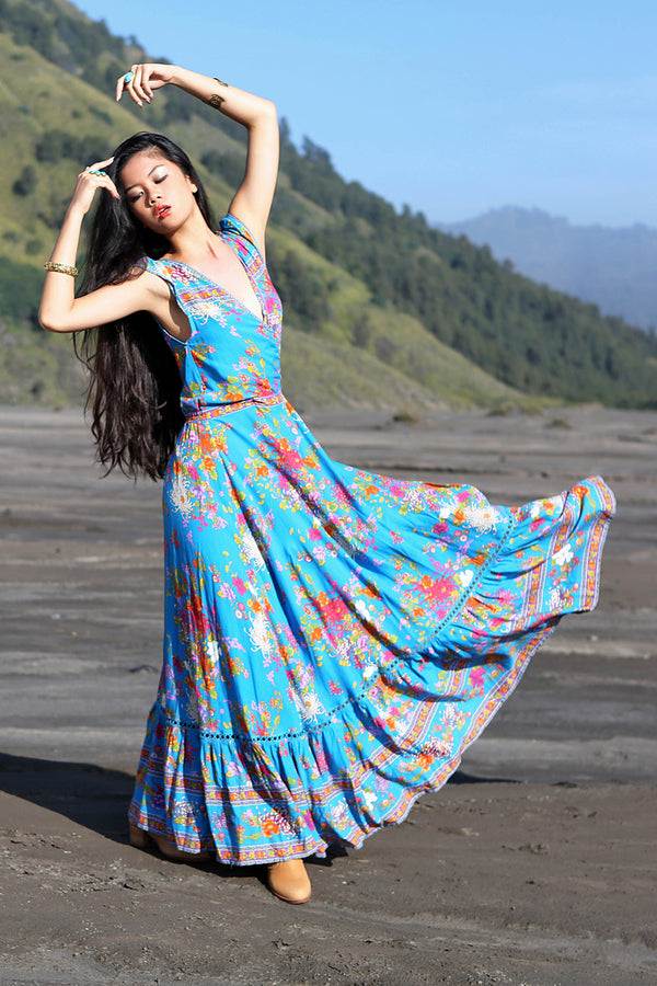 Lola Wrap Maxi Dress - Blue Jewel - Tulle and Batiste