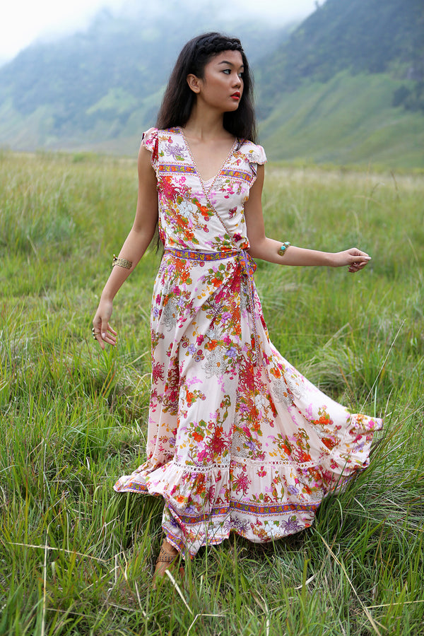 Lola Wrap Maxi Dress - Primrose Pink - Tulle and Batiste