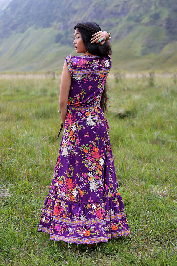 Lola Wrap Maxi Dress - Plum - Tulle and Batiste