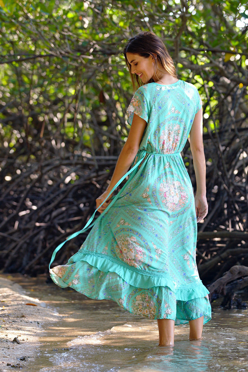 Vera Wrap Dress - Turquoise - Tulle and Batiste
