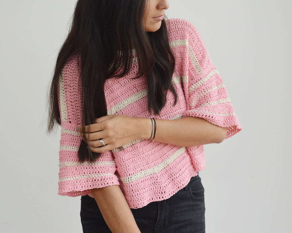 Crochet Eezy-Breezy Striped Tee - Free Pattern