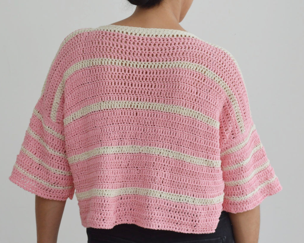 Back of crochet eezy-breezy striped tee in pink and cream