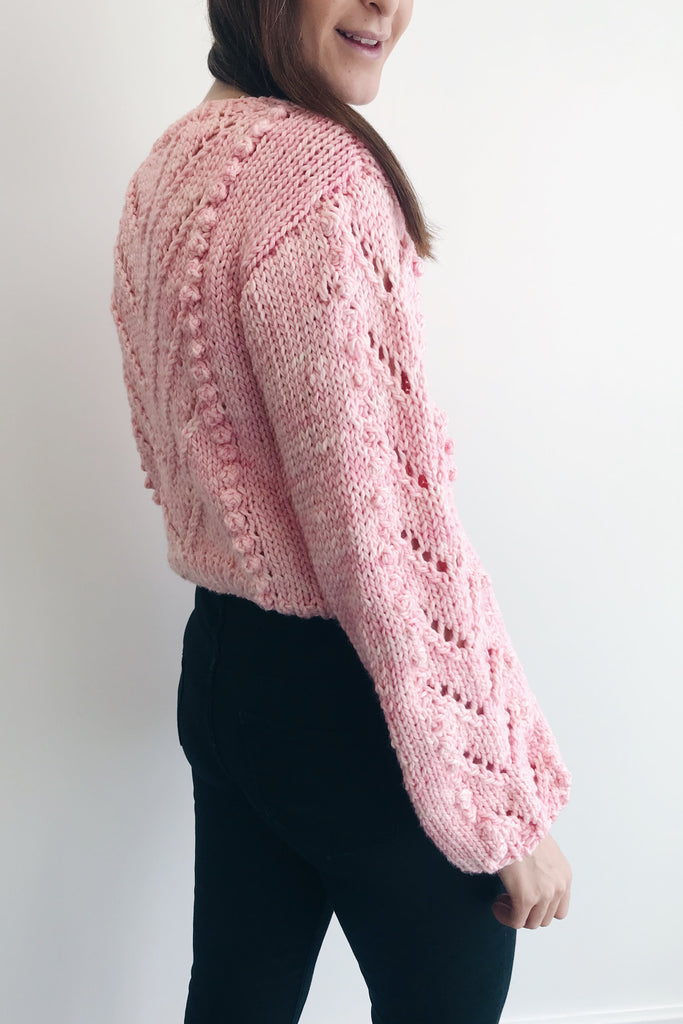Bobble Tea Sweater chunky knit in pale pink, side on