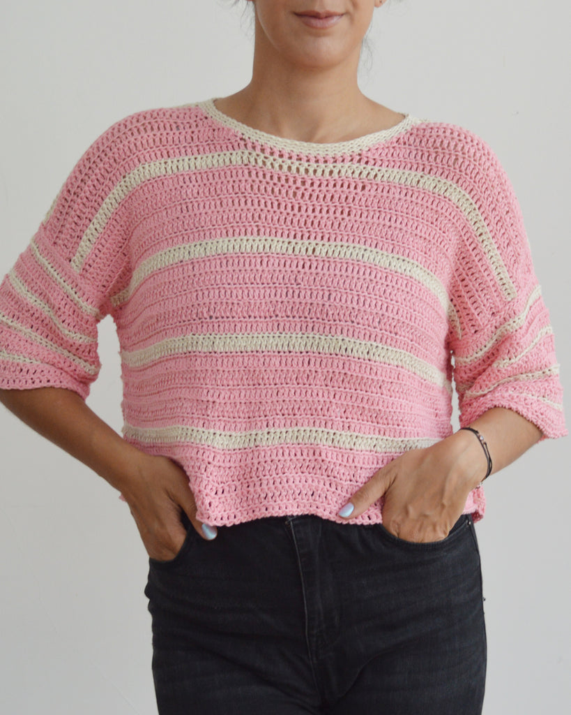 Front of crochet eezy-breezy striped tee in pink and cream