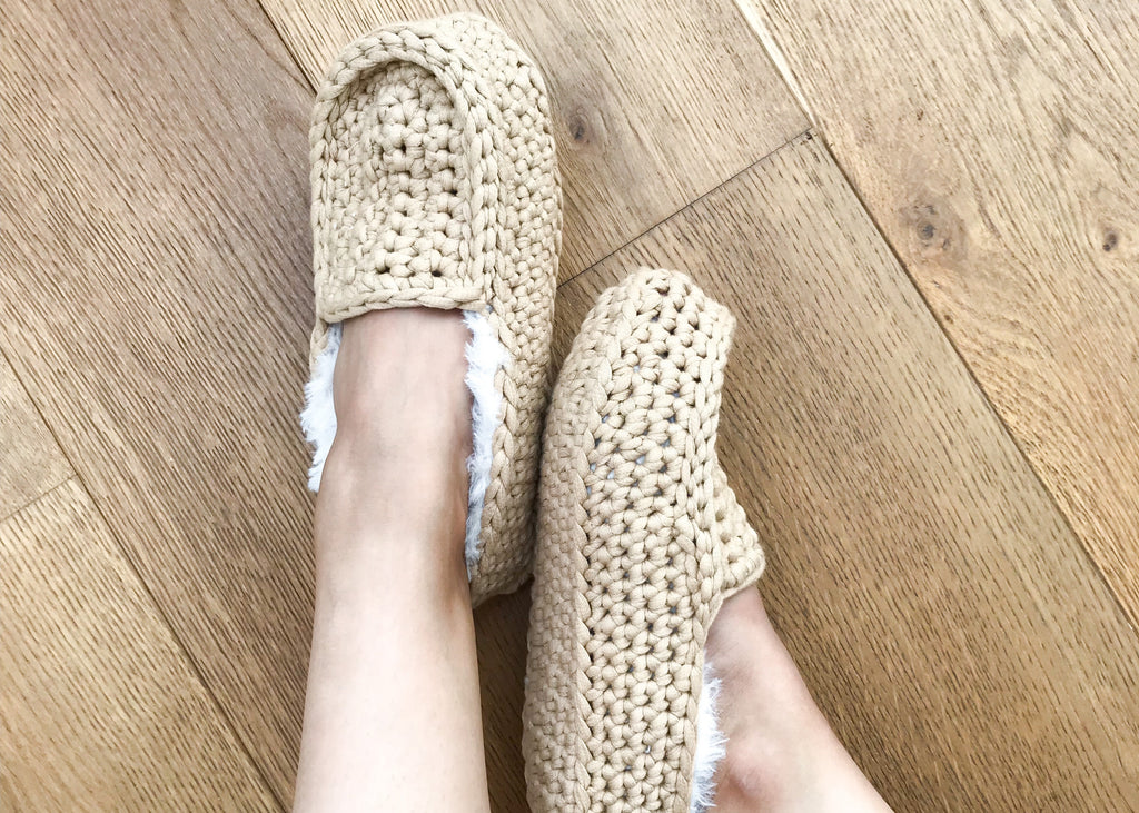 Crochet slippers on feet