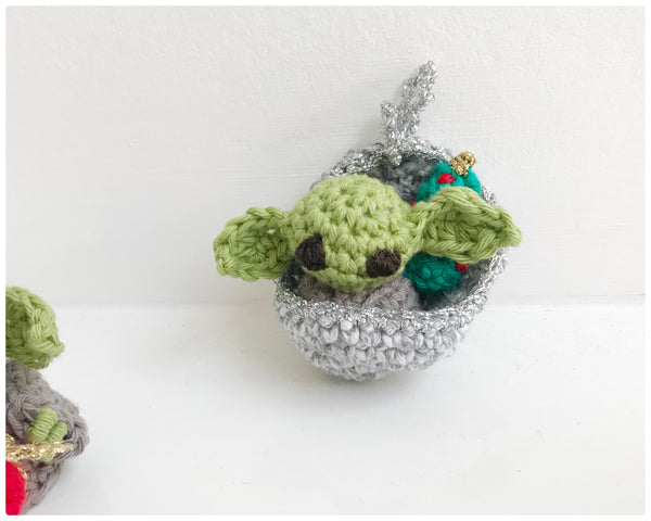 Baby Yoda hand made crochet Christmas tree decorations