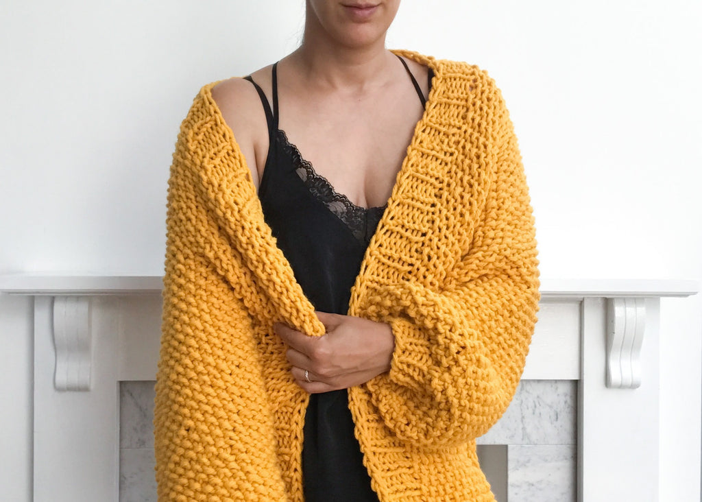 Oversized yellow chunky cardigan