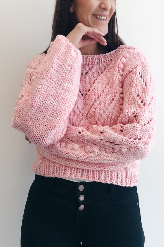 Bobble Tea Sweater chunky knit in pale pink, front on