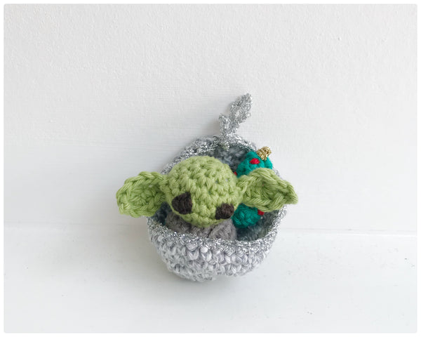 Baby Yoda in a pod Christmas bauble