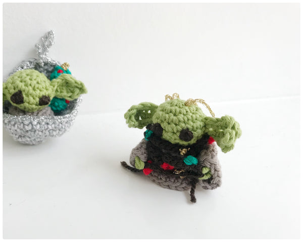 Baby yoda handmade Christmas tree crochet decorations