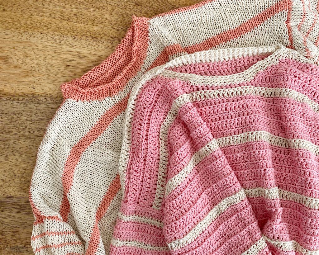 Eezy-Breezy Striped Tee - pink and cream crochet version on top of peach and cream knit version