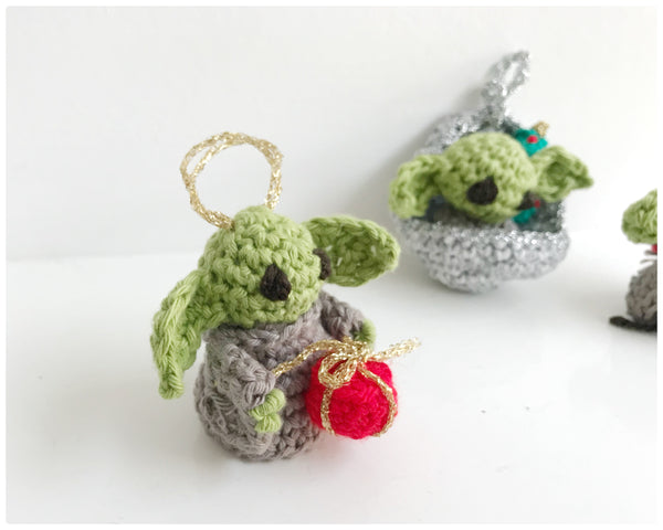 Baby Yoda handmade crochet Christmas tree decorations