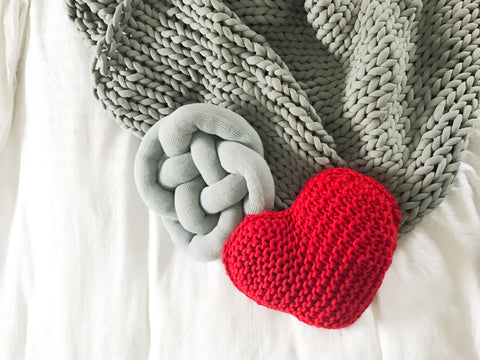 Chunky Knit Valentine's Cushion