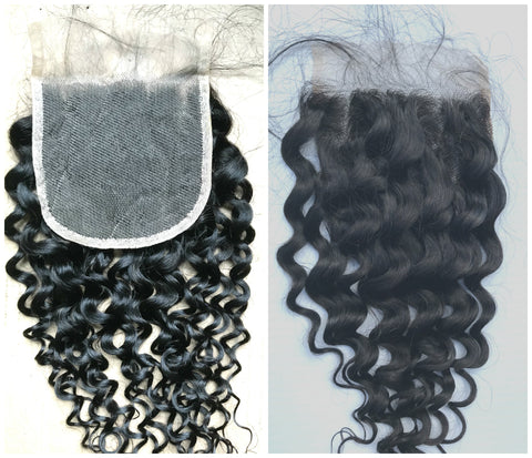 "10""-20"" Clear or HD Lace Top Closure Deep Wave Premium Virgin Remy Hair"