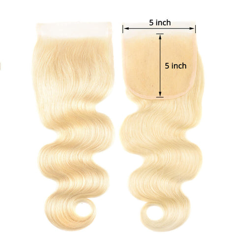 "18""-20"" Transparent/HD Lace 5x5 Top Closure Bodywave All Blonde"