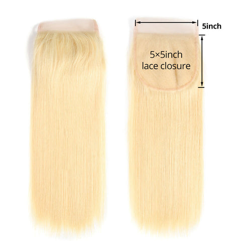 "18""-20"" Transparent/HD Lace 5x5 Top Closure Straight All Blonde"
