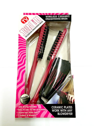 Ceramic hair straightning brush