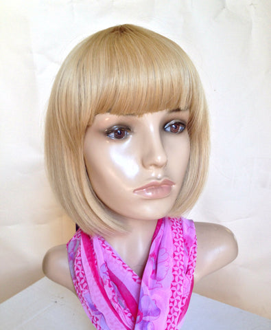 Blonde bob wig cheap shrt with full bang