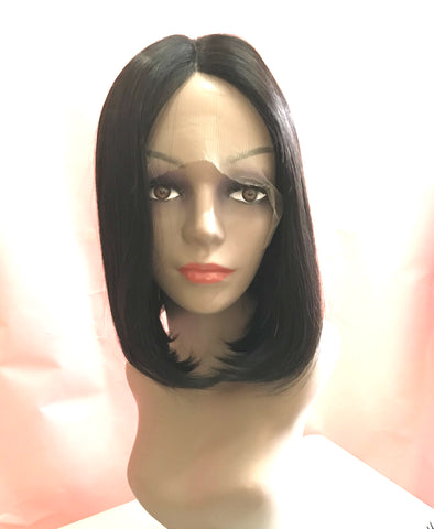 "12""-14"" Middle Parting Bob-cut Wig (Straight Natural Color Premium Virgin Human Hair)"