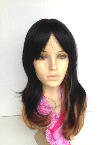 cheap wig dark brown blonde ombre highlights mid length