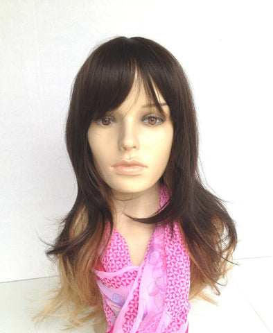 Ombre cheap wigs with layers brown