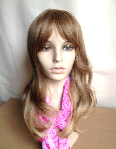 Ombre wig with bang midlength brown blonde wavy