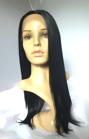 "20"" long lace front wig straight"