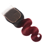 Ombre black to burgundy hair closure body wave