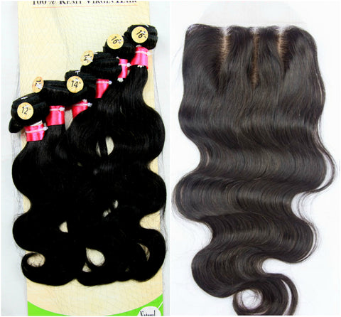 "12"" 14"" 16"" Brazilian Virgin Body Wave Bundles with 14"" Closure"