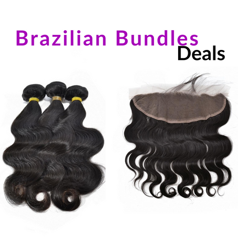 "12""-28"" Premium Virgin Human Hair Bundles + Lace Frontal (Bodywave)"