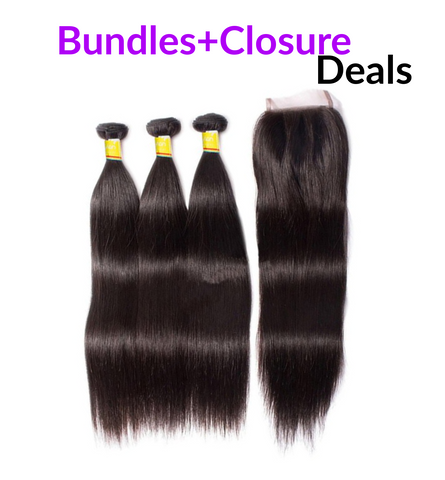 "12""-28"" Premium Virgin Hair Bundles + Top Closure (Silky Straight )"