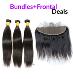 "12""-28"" Premium Virgin Human Hair Bundles + Lace Frontal (Silky Straight)"