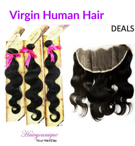 "12""-22"" Virgin Human Hair Bundles + Lace Frontal (Bodywave)"