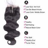 "14""-22"" Clear or HD Lace Top Closure 5""x5"" Free Parting Premium Virgin Remy Hair"