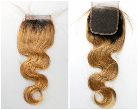 "14""-16"" Ombre Lace Base Top Closure Bodywave Black to Blonde"