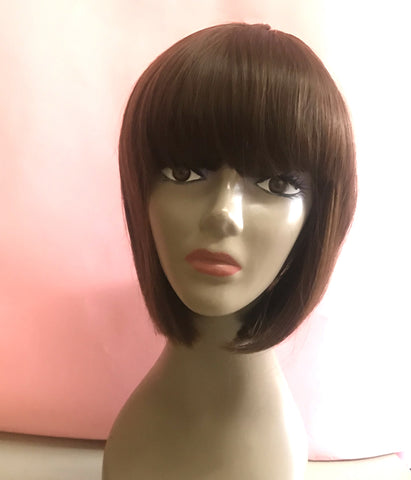 Wig Short Bob with Bang Medium Brown #4
