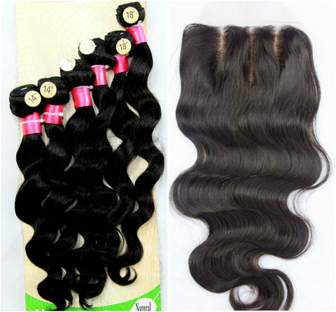 "14"" 16"" 18"" Peruvian Virgin Hair Loose Wave Set with Lace Closure"