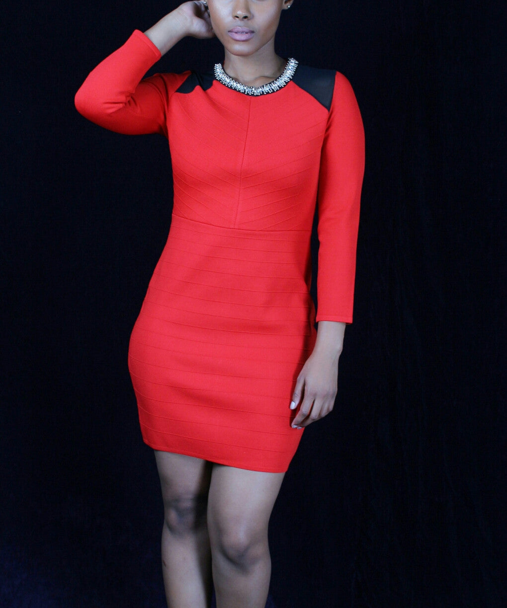Red Knit Dress With Neck Detail