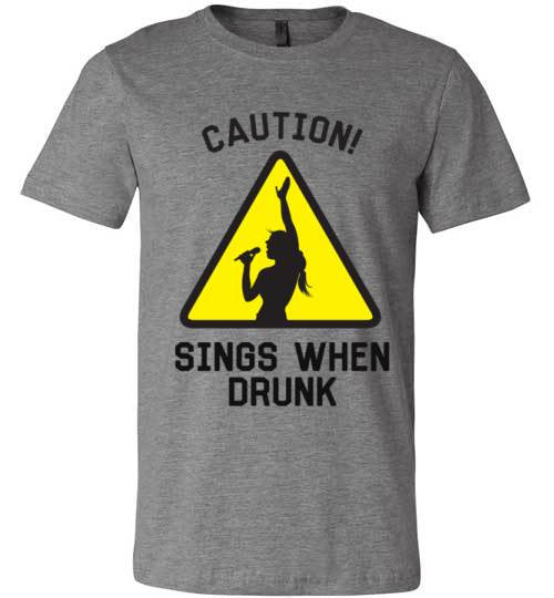 Caution! Sings When Drunk | Unisex White T-Shirt | Eternal Weekend - 2