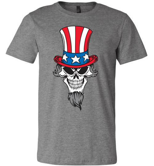 Uncle Sam Skull | Unisex Gray T-Shirt | Eternal Weekend - 2